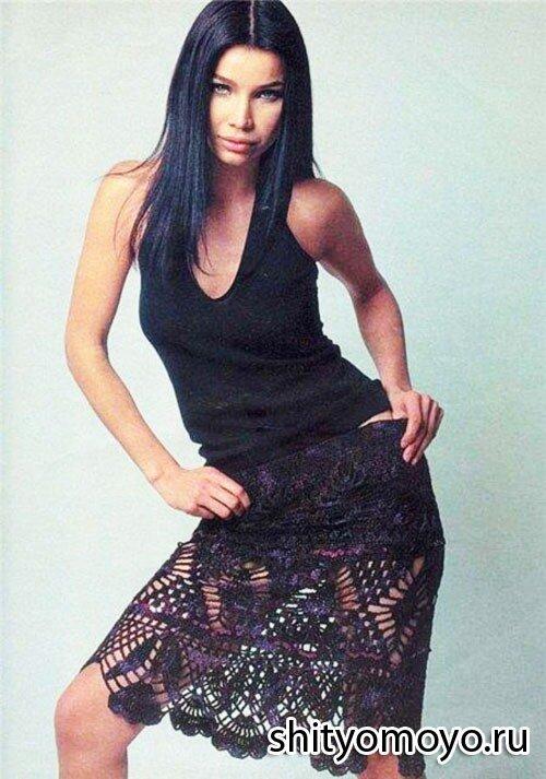 Летняя черная юбка, связанная крючком