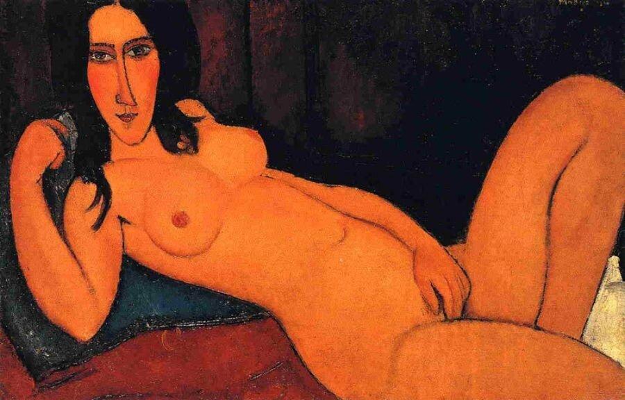 Модильяни:  Лежащая обнажённая с распущенными волосами 1917г. Reclining Nude with Loose Hair  http://veniamin1.livejournal.com/profile