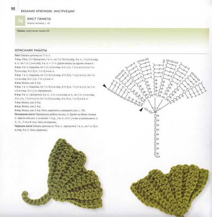Комментарий: вязание крючком листья схемы.