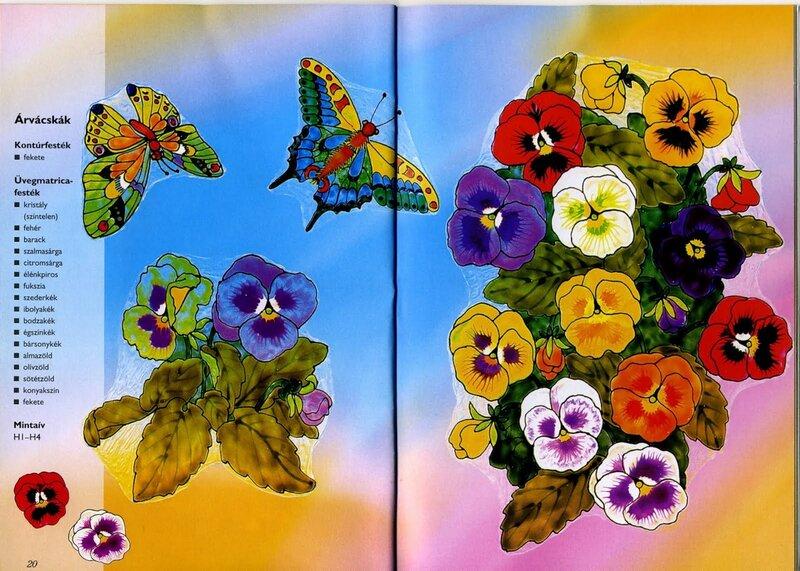 Витражные картинки цветы 1