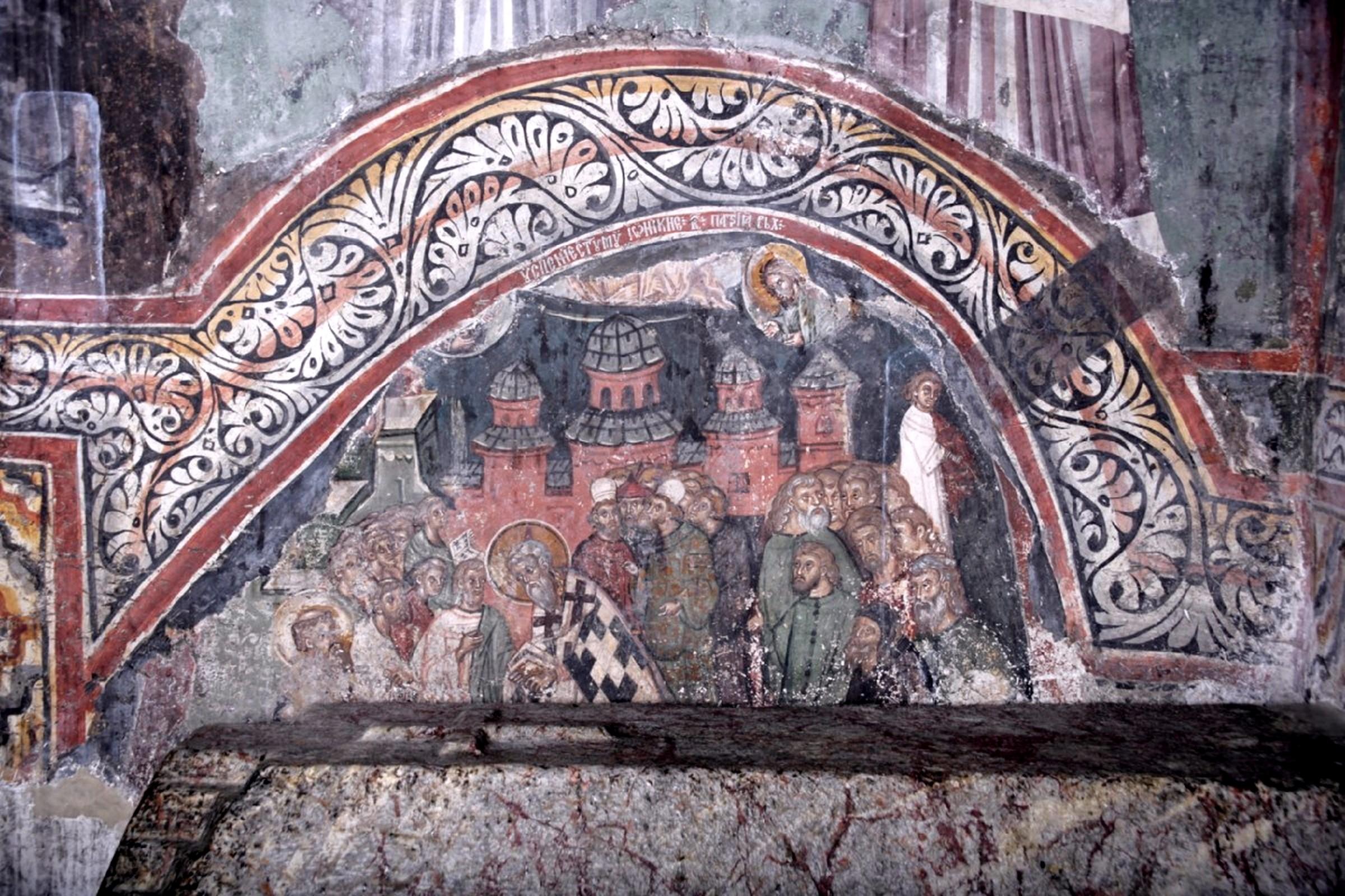 Успение Святителя Иоанникия II, Патриарха Сербского. Фреска над гробницей Святителя в Печской Патриархии, Косово, Сербия. Около 1355 года.