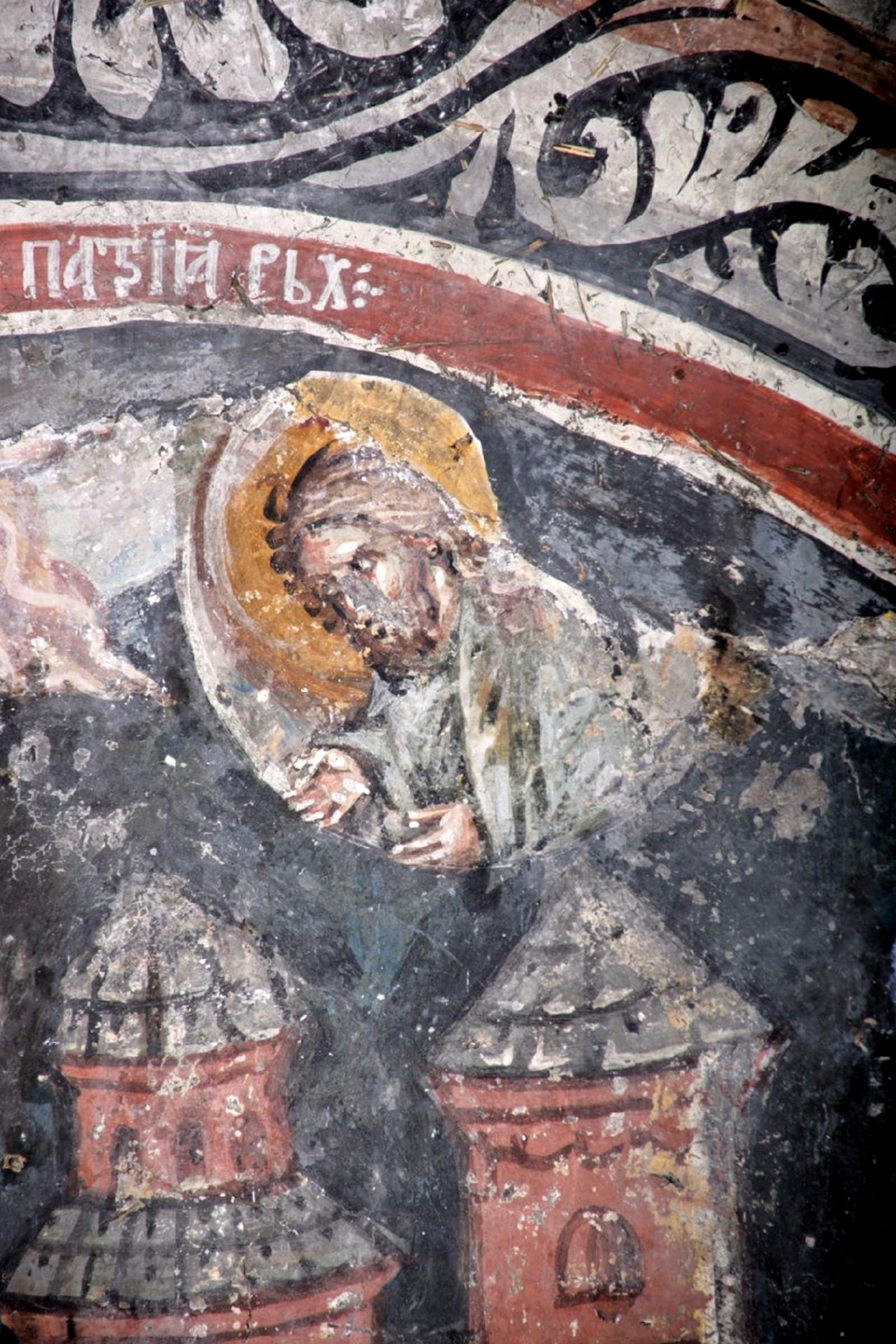 Успение Святителя Иоанникия II, Патриарха Сербского. Фреска над гробницей Святителя в Печской Патриархии, Косово, Сербия. Около 1355 года. Фрагмент.