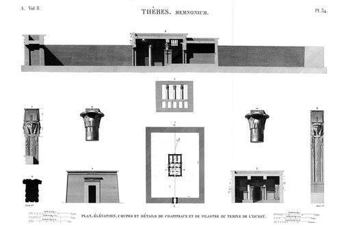 Рамессеум, храм фараона Рамсеса II, Египет, чертежи павильона фараона