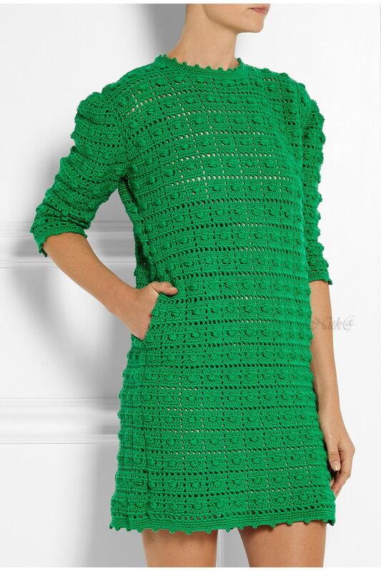 Зеленое шерстяное платье. Красота