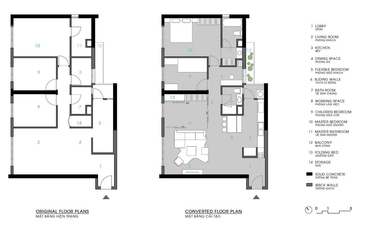 Le Studio, квартира во Вьетнаме, оформление квартиры для семьи с ребенком, динамическое пространство квартиры, проект дизайна квартиры, план квартиры