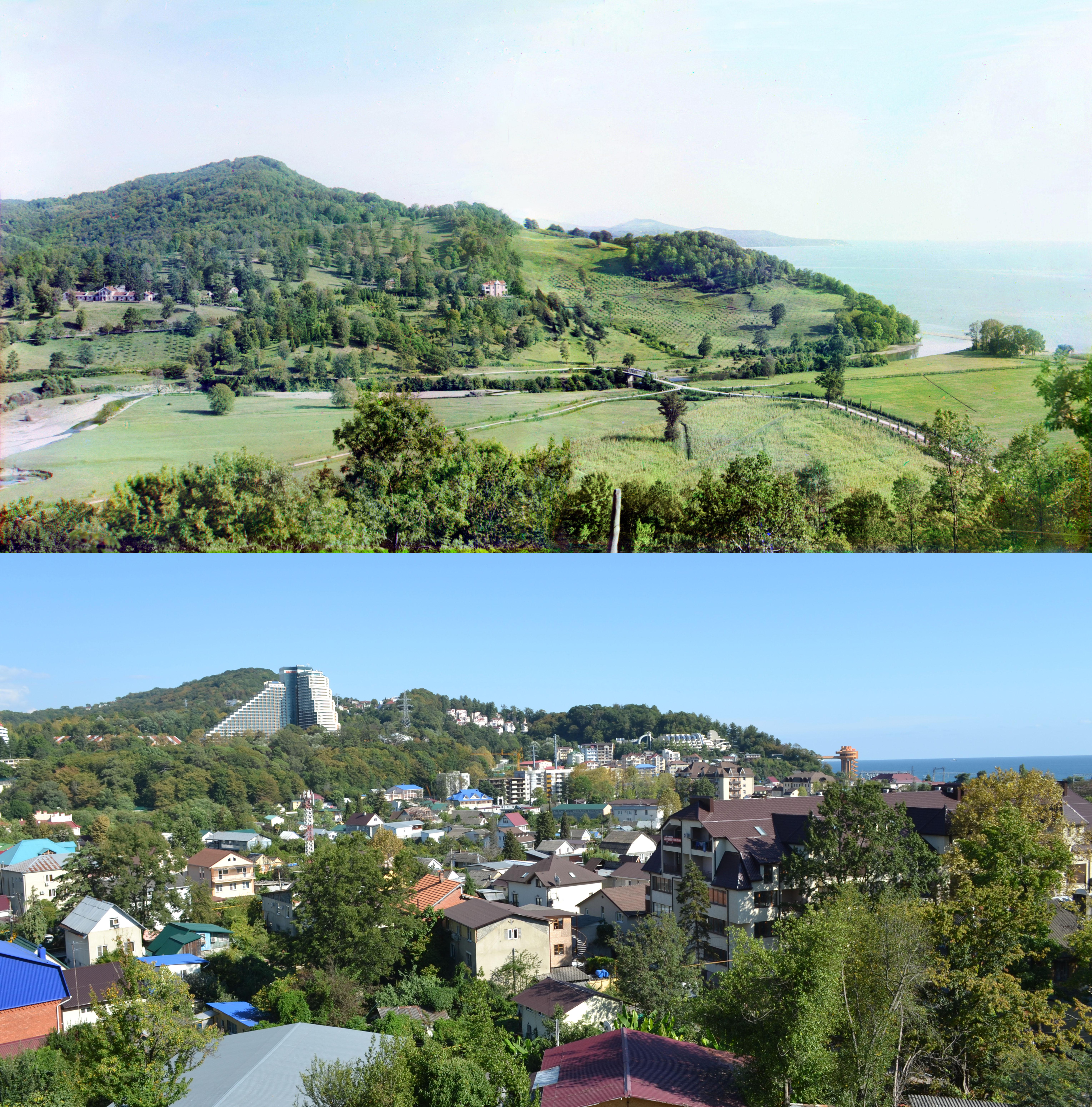 Панорама Дагомыса в 1012 и 2015 годах
