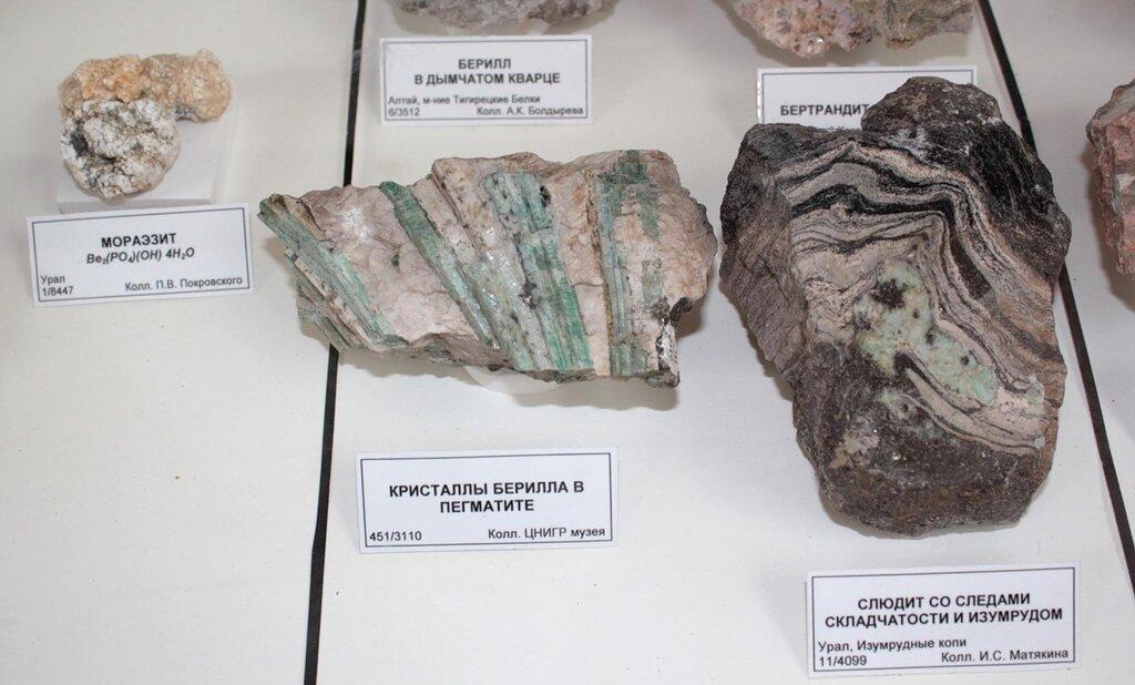 Мораэзит; кристаллы берилла в пегматите; слюдит со следами складчатости и изумрудом
