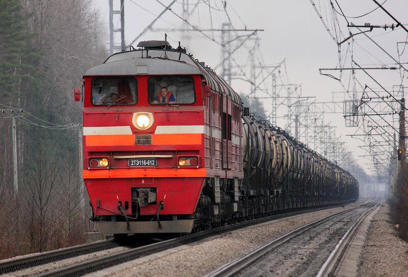 2ТЭ116-612 на перегоне Новолисино - Стекольный