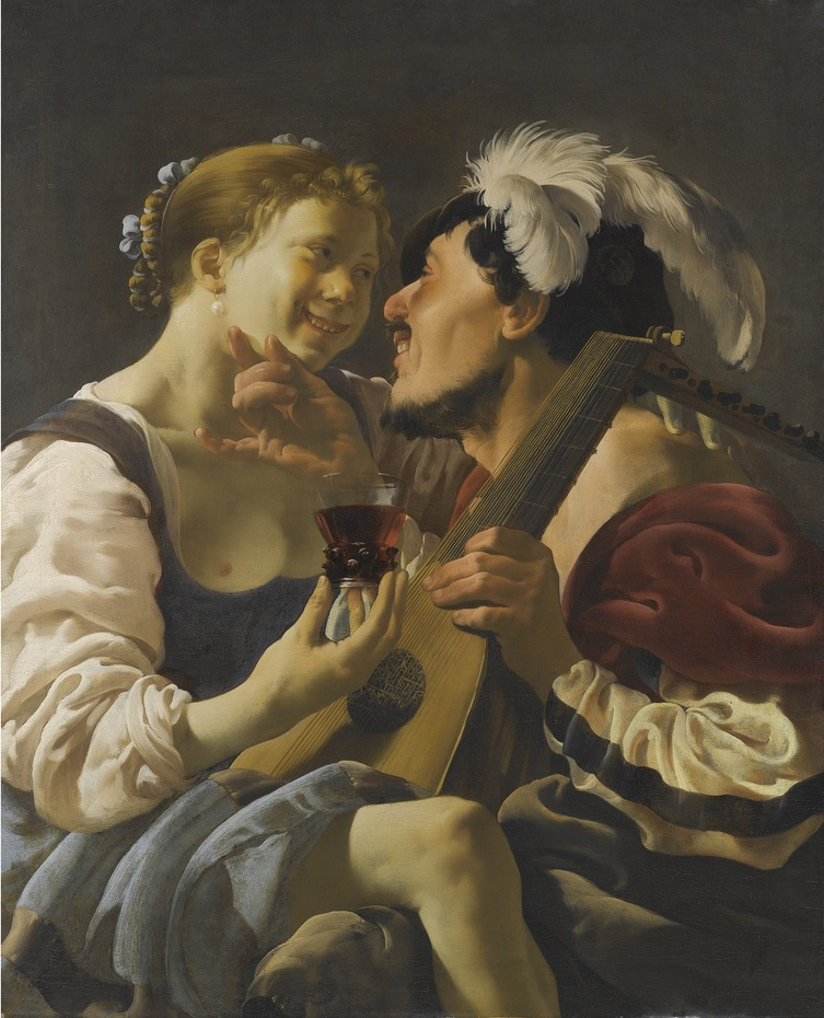 A Luteplayer Carousing With A Young Woman Holding A Roemer.j