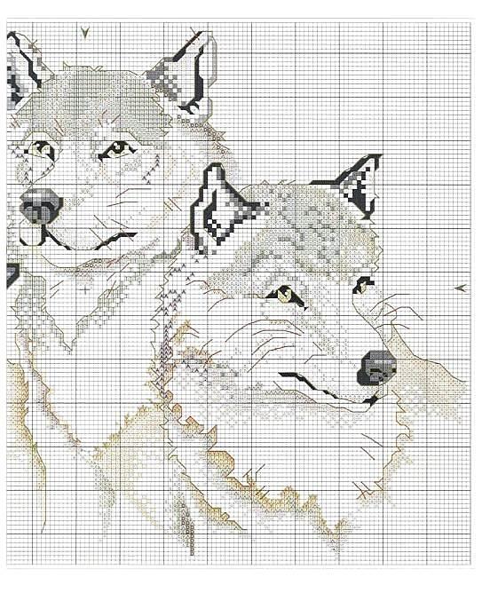 Схемы вышивок крестом монохром волки