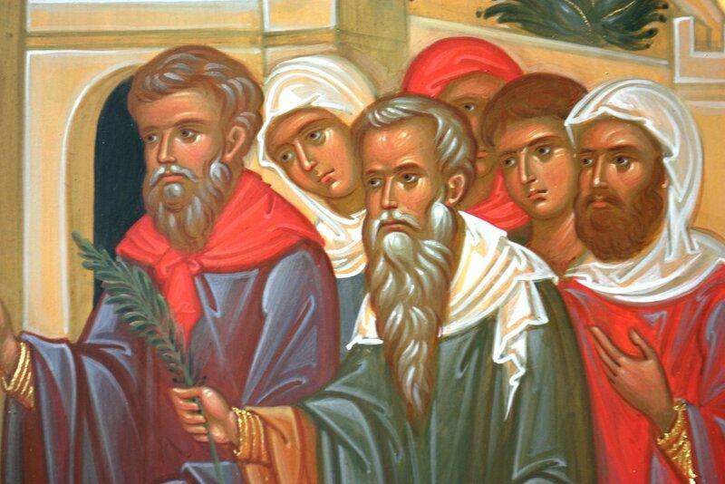 Вход Господень в Иерусалим. Иконописец Наталия Пискунова. Фрагмент. Иудеи.