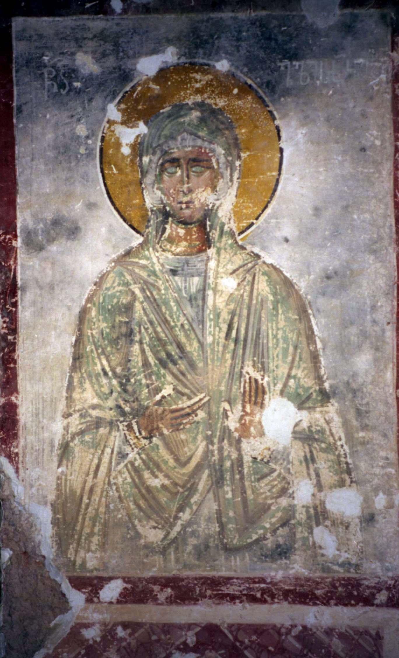 Святая Праведная Елисавета, мать Св. Иоанна Предтечи. Фреска собора Христа Спасителя в Цаленждихе, Грузия. XIV век.