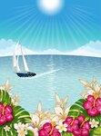 Tropical landscape with boat [преобразованный]