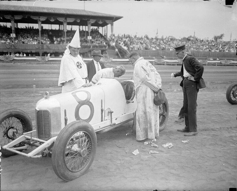 Klan member at 'Klan Day' at the races at Overland Park race track in Denver, Colorado, July 1925