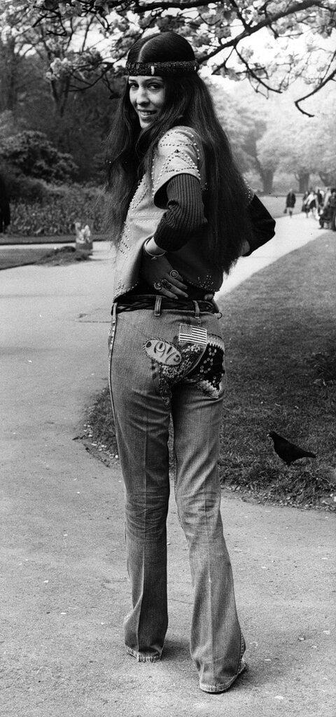 Rita Coolidge.Популярная певица американских индейцев чероки,хиппи Рита Кулидж в Гайд-парке в Лондоне,.