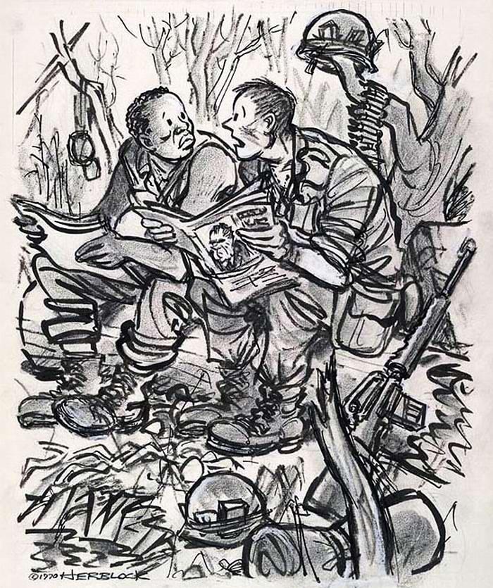 Теперь ты понимаешь (после чтения пропагандистских газетных статей), что причина, по которой мы находимся в Индокитае, заключается в обеспечении защиты жизни здешнего населения (Herblock)