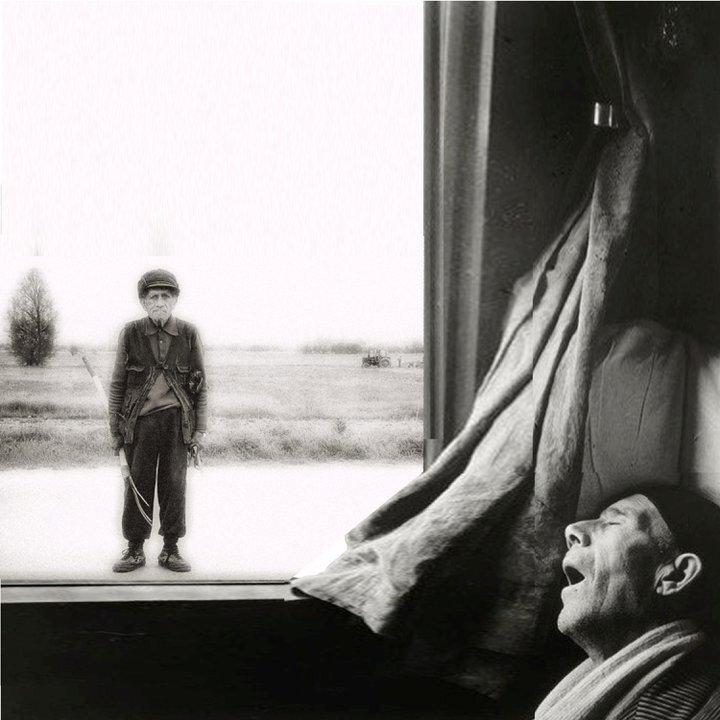 1955.  Экспресс Рим-Неаполь. Спящий мужчина