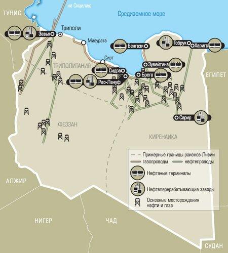 Нефтяная карта Ливии