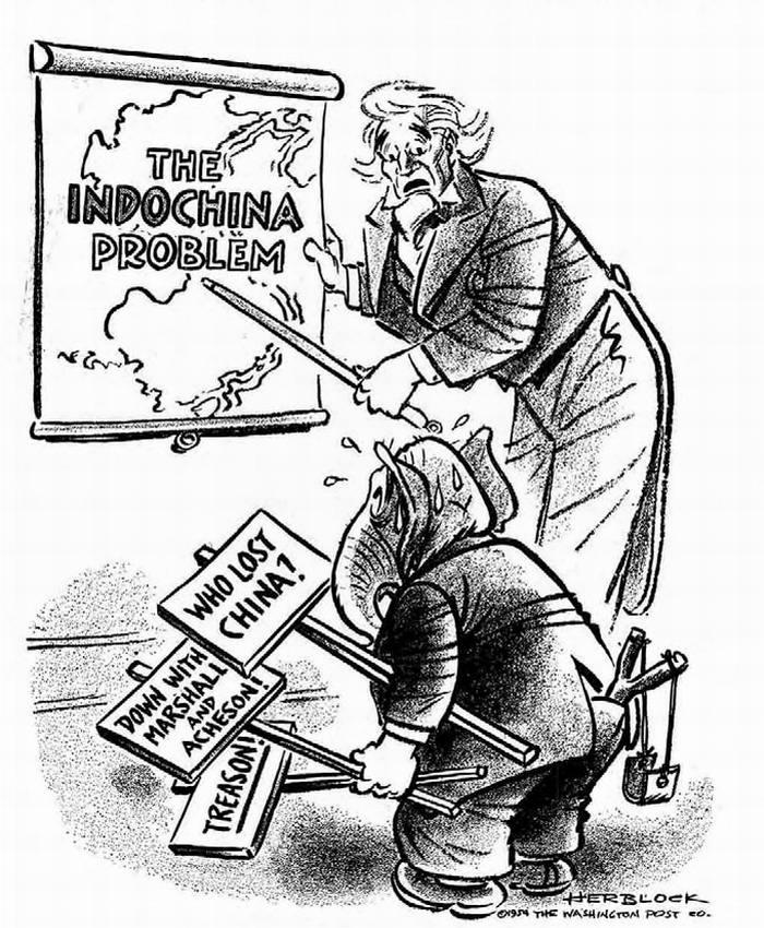 Проблема Индокитая. Американский дядя Сэм символу партии республиканцев: Ну, ну, теперь давайте посмотрим, какой ты умный! (Herblock)