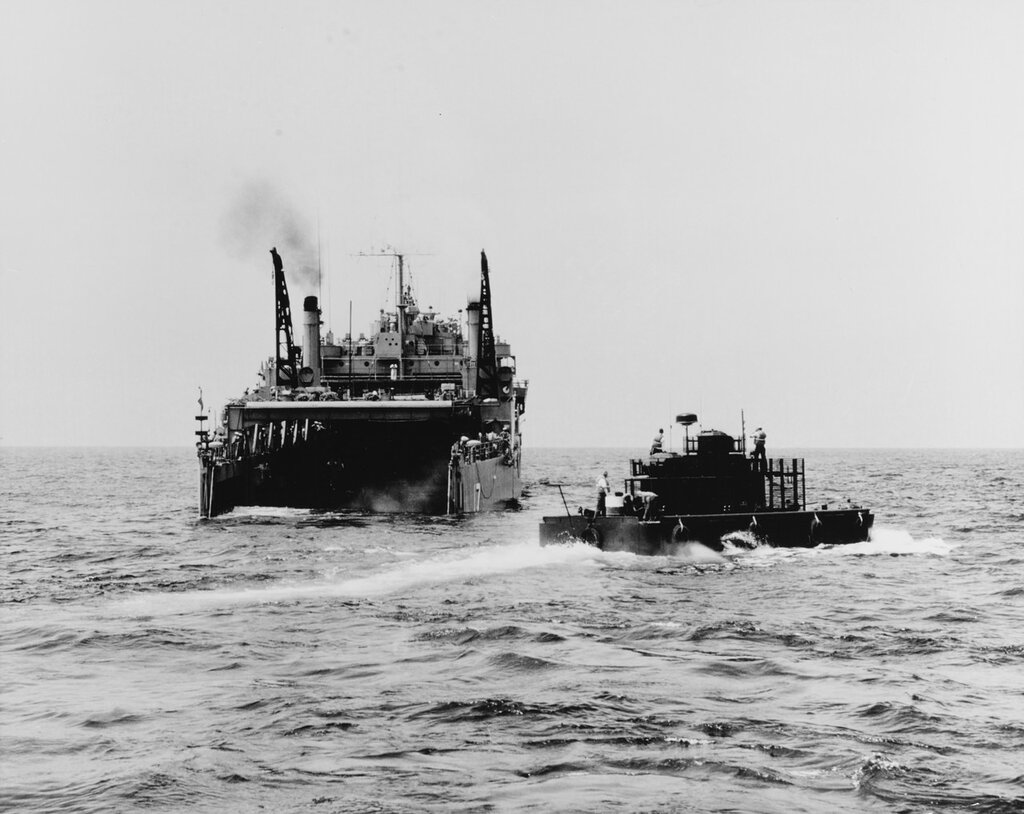 Monitor flame boat. Leaving the well deck of the USS CATAMOUNT (LSD-17) during tests conducted off the coast of San Diego, California, Tue, Aug 06, 1968