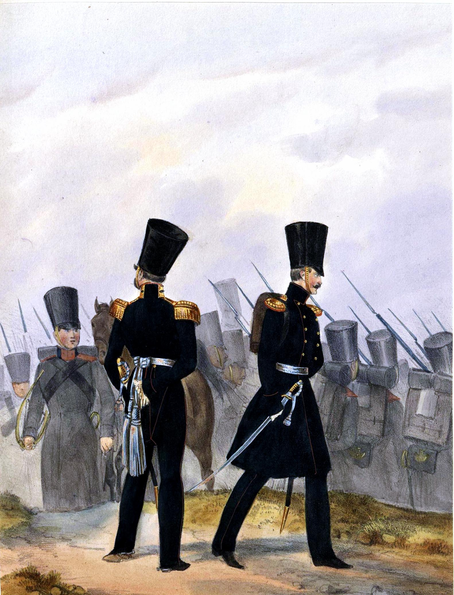 016. Kaiserthum Russland Garde-Regiment Finnland: Stabs- und Subaltern-Offizier im Feldanzug / Российская империя