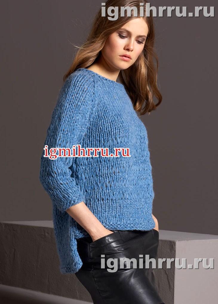 Пуловер-реглан с удлиненной спинкой, связанный на толстых спицах. Вязание спицами