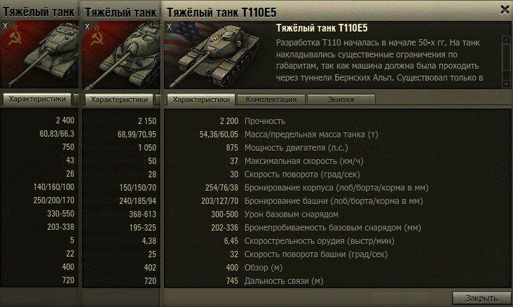 ИС-4 в сравнении с ИС-7 и Т110