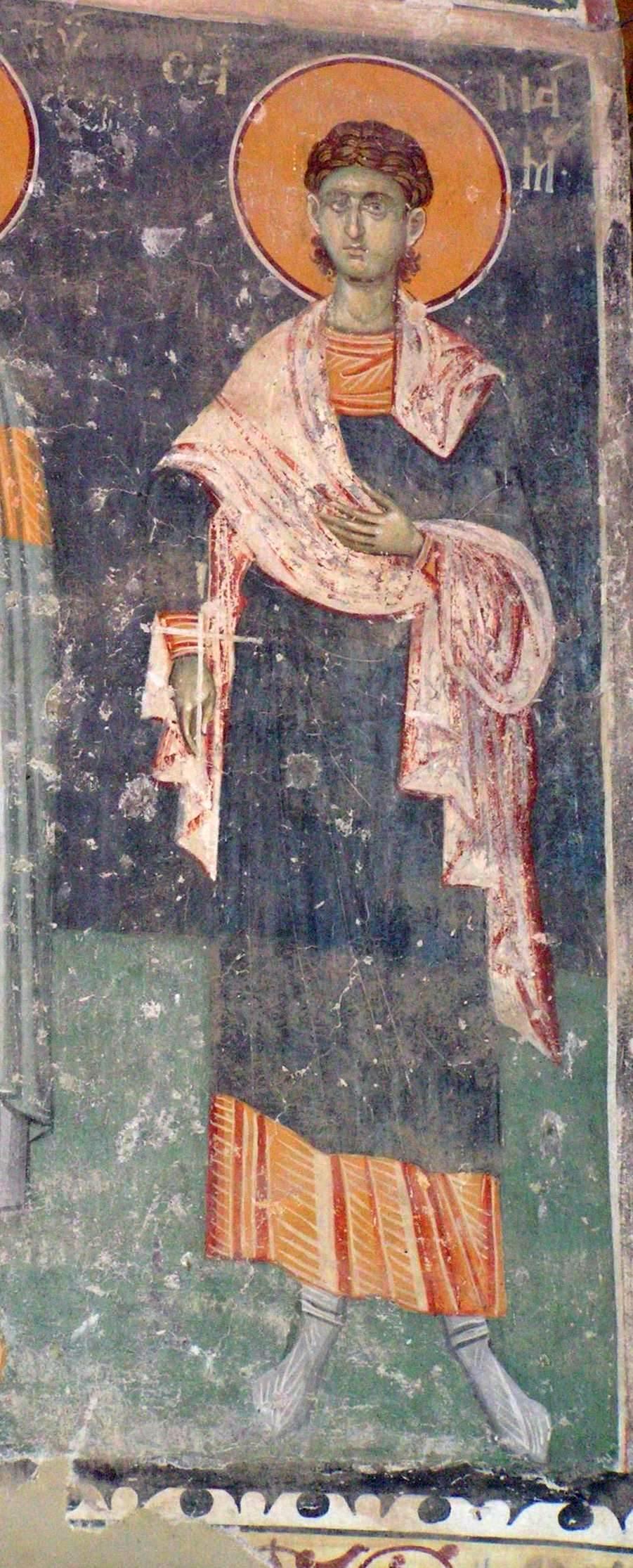 Святой мученик Мамант. Фреска церкви Св. Георгия в Старо-Нагоричино. 1316 - 1318 годы. Иконописцы Михаил и Евтихий.