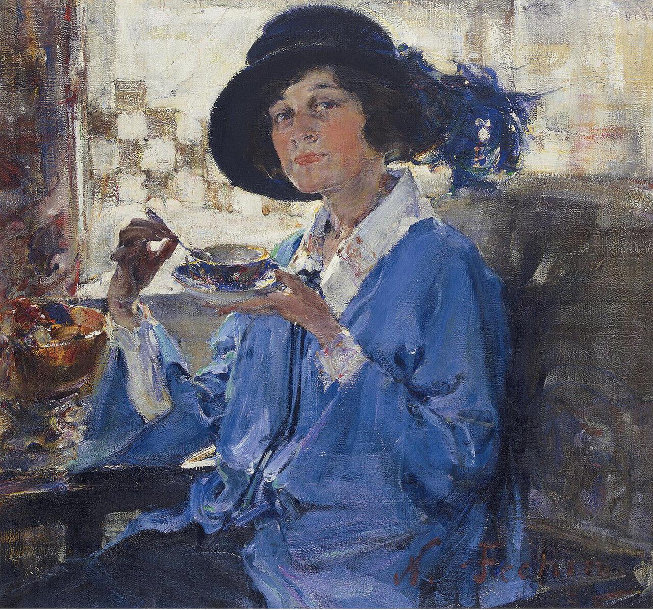 Nicolai Fechin - Tea in Santa Monica (Portrait of Mrs. Krag), 1923.jpeg