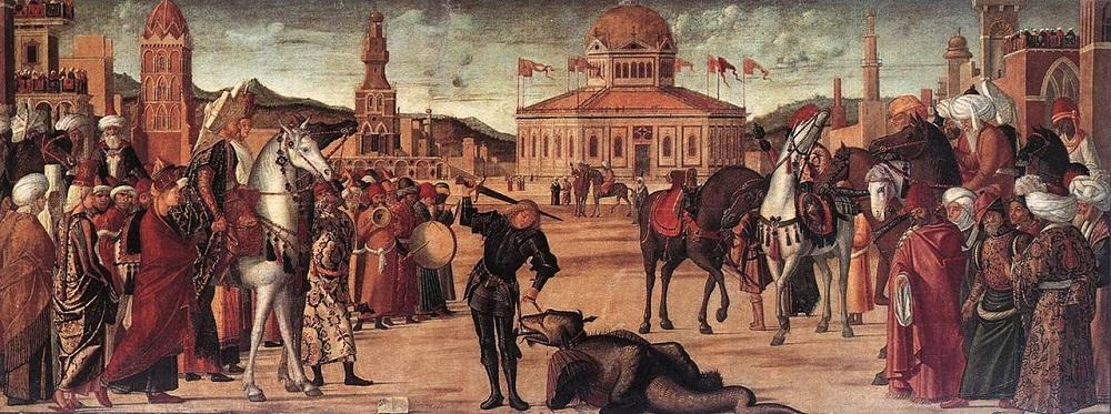 1502-2 CARPACCIO, Vittore The Triumph of St George 1502 Tempera on canvas, 141 x 360 cm Scuola di San Giorgio degli Schiavoni, Venice.jpg