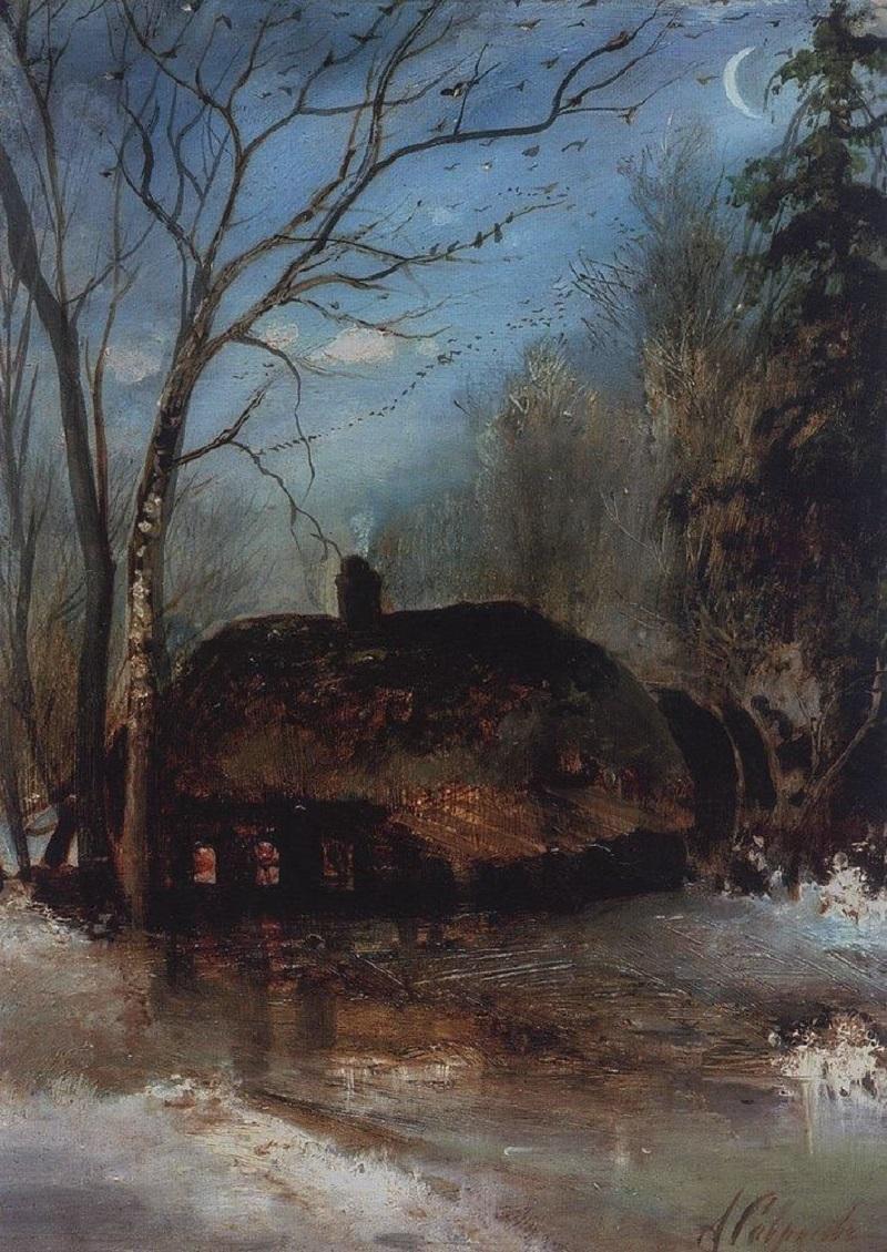 Весенний пейзаж с избой, 1890-е.jpg