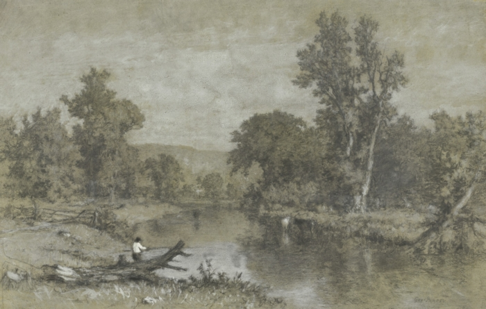 Milton, New York, charcoal, white wash, and gouache over graphite on grey paper, ca. 1856