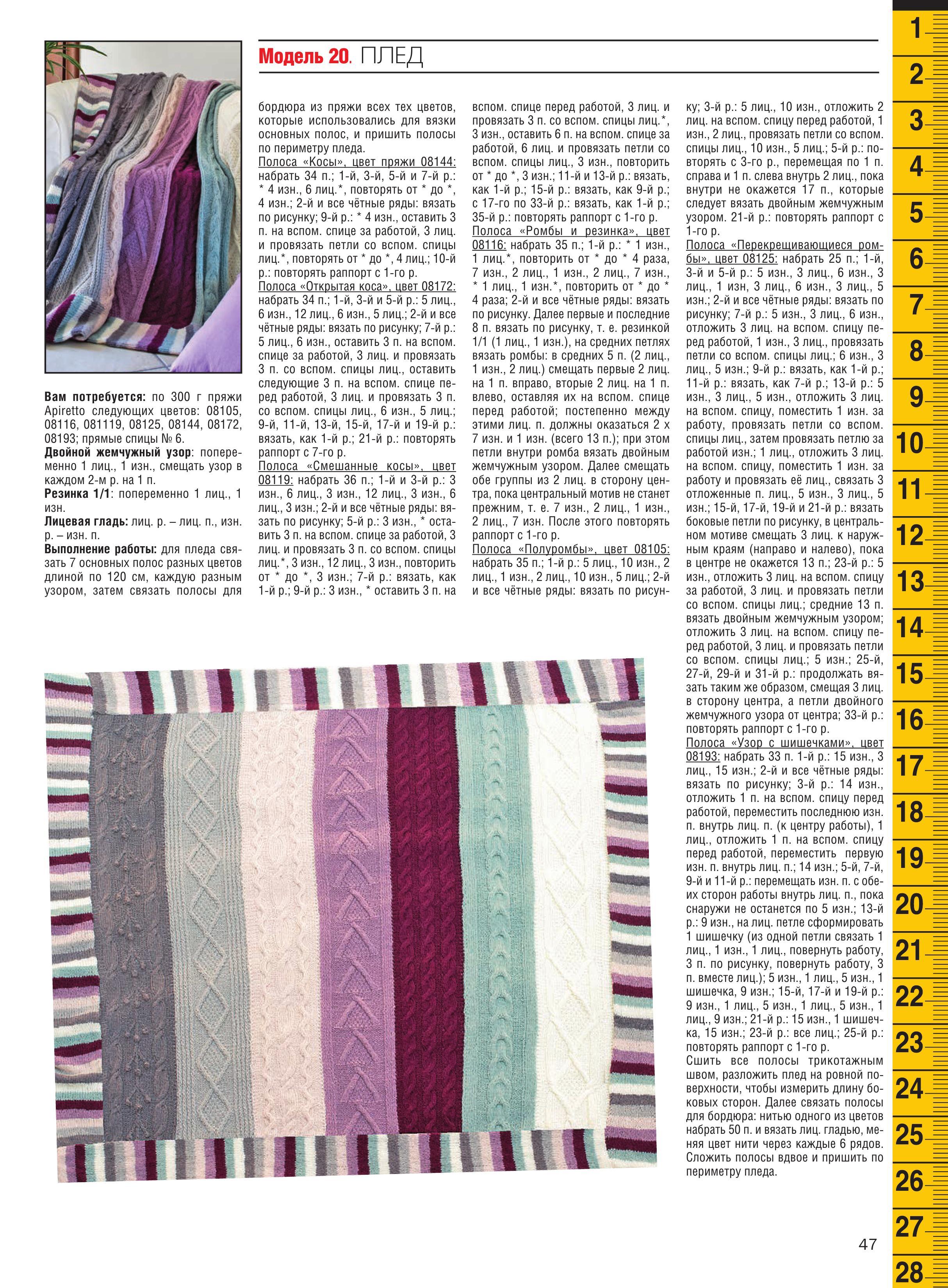 Схемы вязания пледов спицами косами