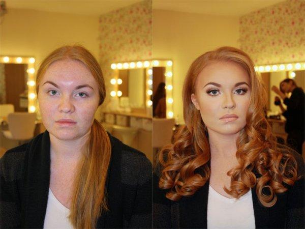 Девушка до и после макияжа и укладки .