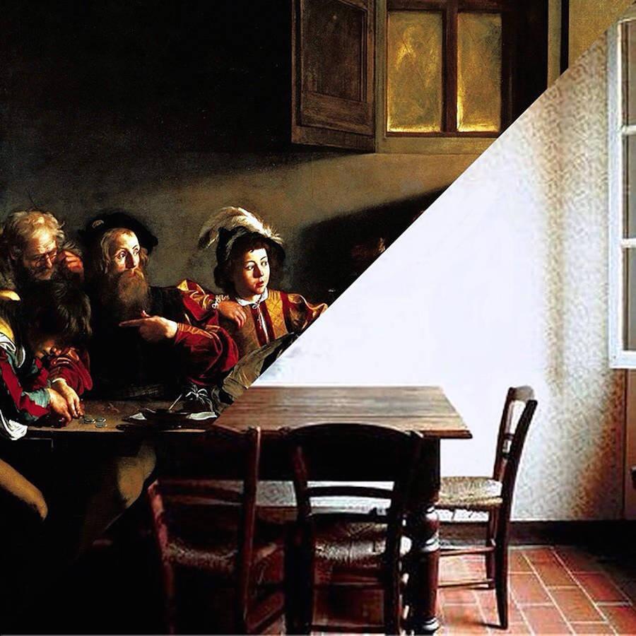 Caravaggio, The Calling of St Matthew, 1599-1600 / Luigi Ghirri, Campegine, 1986.
