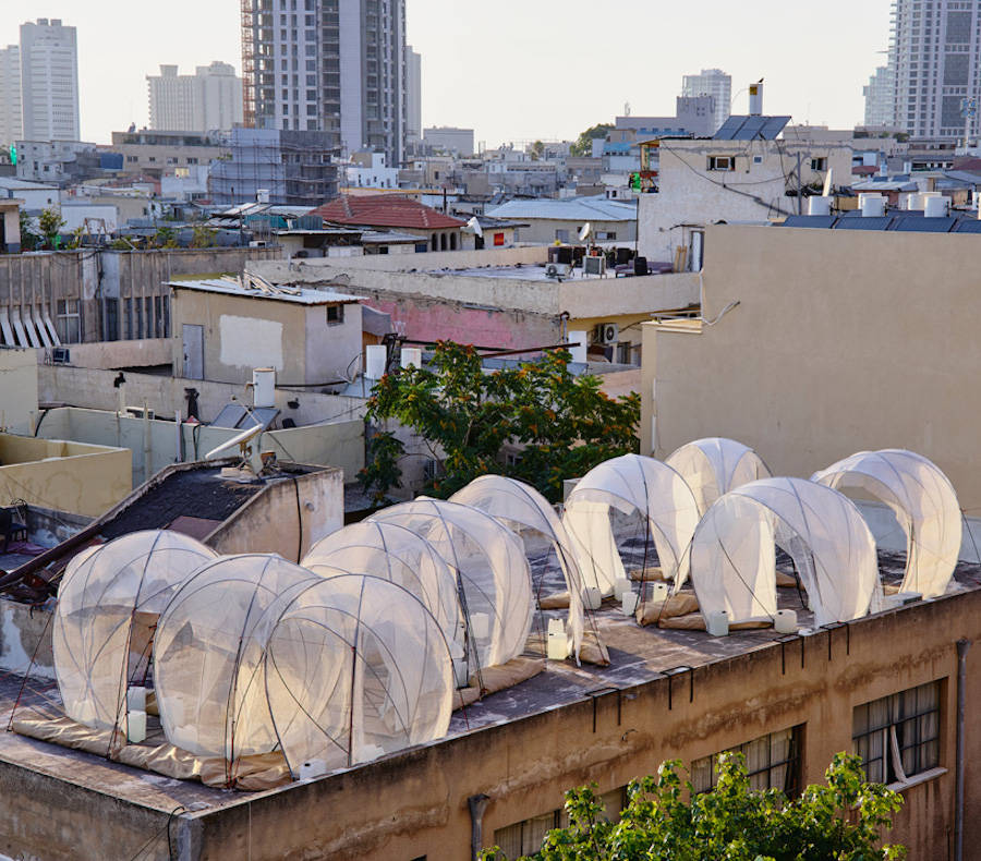 Rooftop Installation Filled by Bedouin Tents