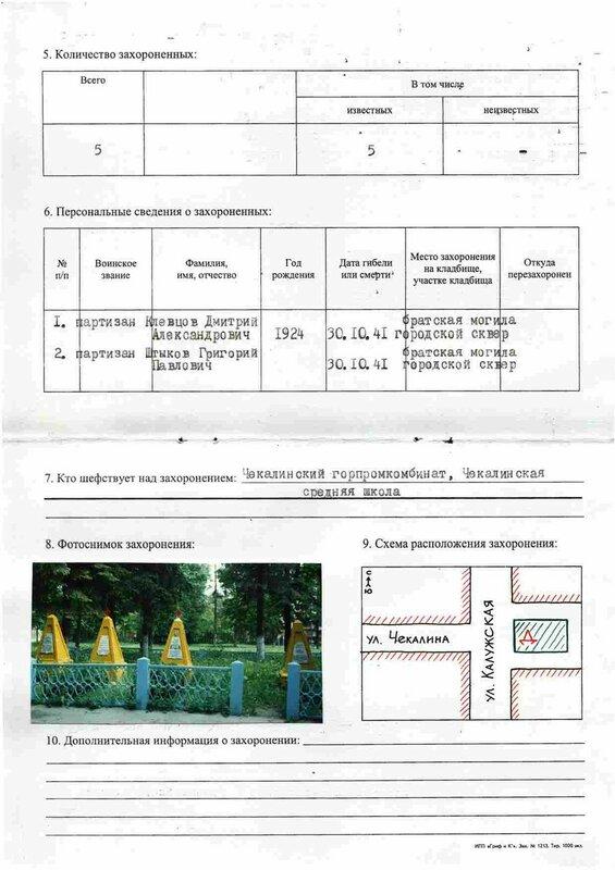 Учетначя карточка воинского захоронения