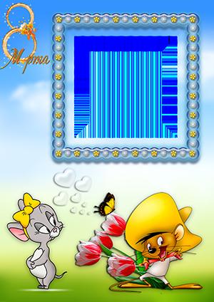 Рамка на 8 марта с мышонком в желтой шляпе с букетом тюльпанов и мышкой с желтым бантиком