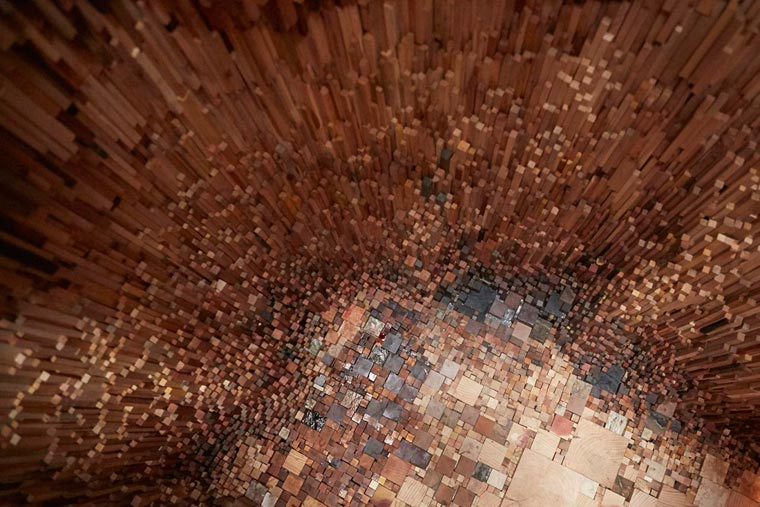 Hollow - An installation composed of over 10,000 different species of wood