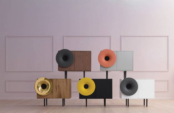 Designed by Paolo Cappello for Miniforms in 2015, this stylish Cabinet with embedded hi-def bluetoot