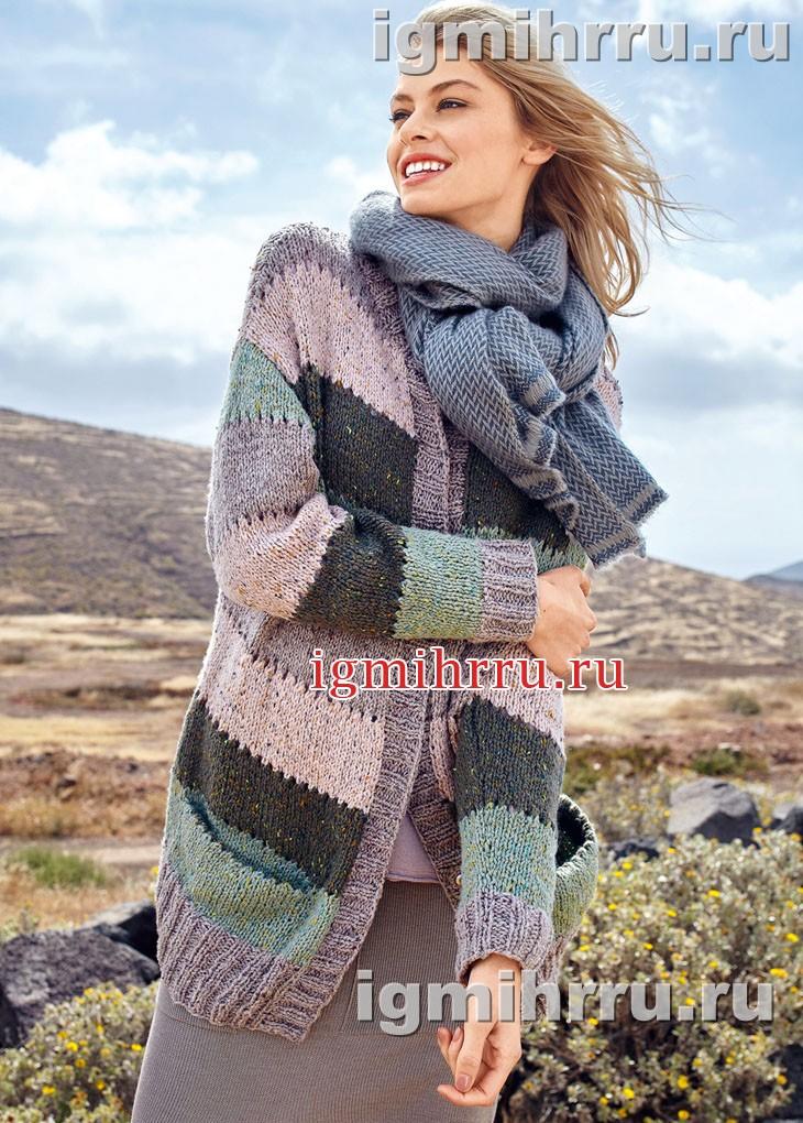 Удлиненный шерстяной жакет с широкими полосами. Вязание спицами