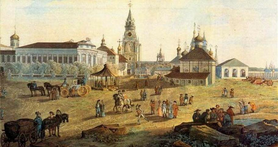 Вид с запада на юго-восточную часть Кремля с церковью Николы Гостунского 5.jpg