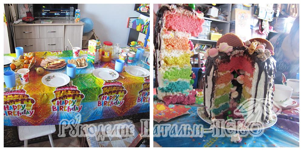 детский праздник, детский стол, праздничный стол, праздничное меню, радужный торт детский