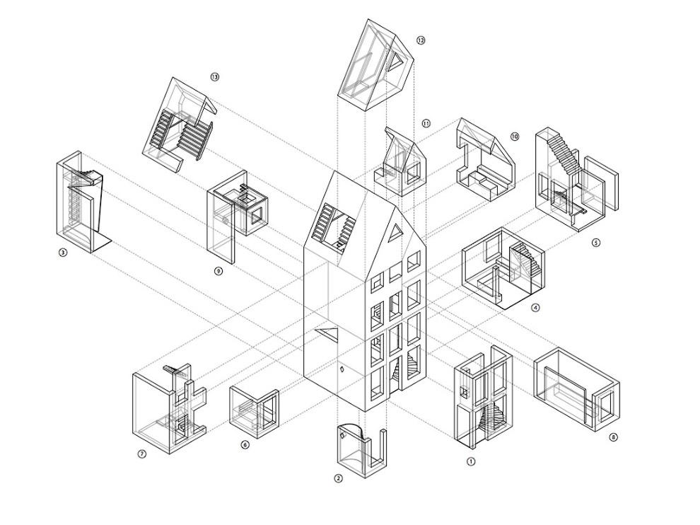 Вот различные блоки, из которых потом будет собран дом: