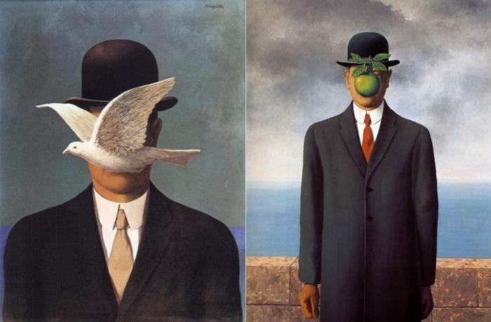 Лицо человека на картине закрывает яблоко – один из самых древних и многозначных символов в искусств