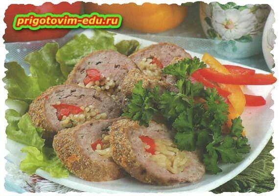 Мясной рулет с макаронами.рецепт