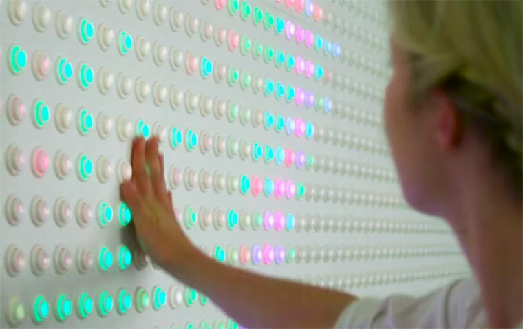 An awesome interactive display made of 5880 arcade buttons