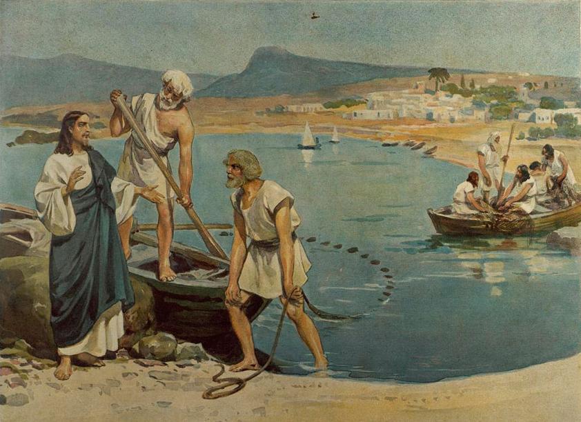 Призвание апостолов на берегу озера Галилейского(Господь Иисус зовет рыбаков Андрея и Петра)
