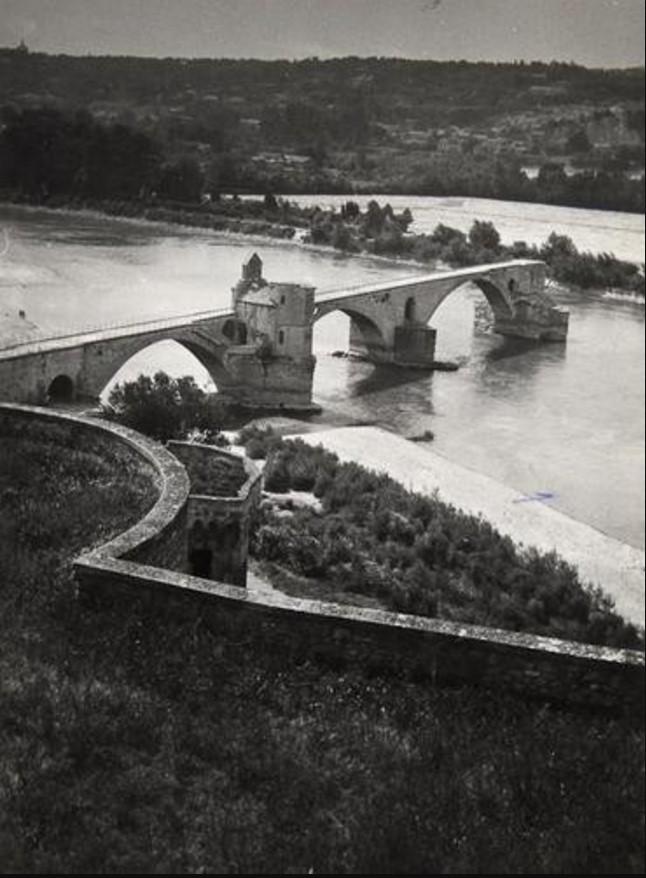 1950-е. Авиньон. Мост Сен-Бенезе и капелла Святого Николая