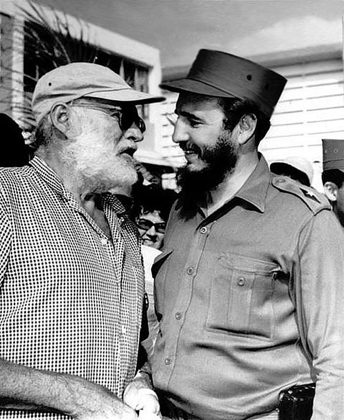 Ernest Hemmingway with Cuban dictator Fidel Castro